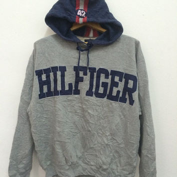 Vintage Tommy Hilfiger Spell Out Hoodie Sweatshirt Pullover Size M 90s Hip Hop Swag Sailing Gear