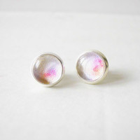 White and Pink - Orange Stud Earrings - Glass Cabochons Post Earrings - Glass Dome Stud