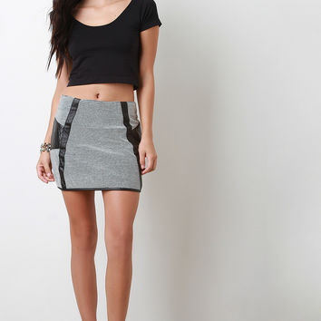 Quilted Panel Mini Skirt
