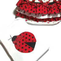 Baby Girl Outfit, Baby Girl Ladybug Clothes, Girls Diaper Cover Set, Ruffled Diaper Cover, Baby Girl Fashion, Baby Girl Ladybug Gift