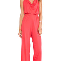 Bobi Jersey Drape Neck Jumpsuit in Red