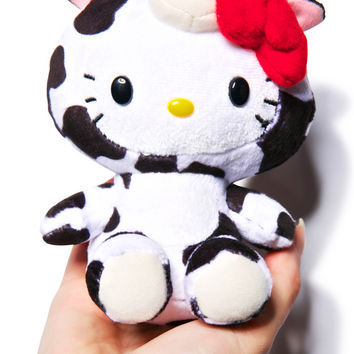 Sanrio Farm Friends Hello Kitty Cow Plush Black/White One
