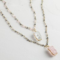 Gold Crystal 2-Row Pendant Necklace