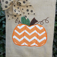 Burlap Garden Flag Fall Chevron Appliqued Pumpkin - Outdoor Decor