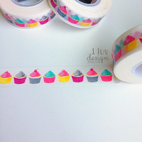 Cupcakes Washi Tape (Decorative Tape) Baby Shower • Craft Supply • DIY • Embellishment • Card Making • Decorating • Paper Crafting (SC9543)