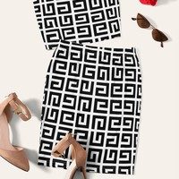 Greek Fret Print Bandeau & Pencil Skirt Set