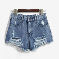 Blue high waist denim shorts