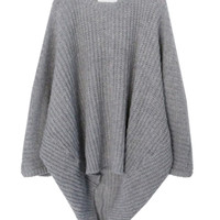 Gray Batwing Sleeve Knitted Sweater