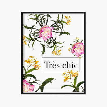 Tres Chic Print Fashion French Floral Print Shabby Chic Lotus Orchids Botanical Print Elegant Christmas Gift Nature Holiday Modern Decor