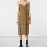 ALLSAINTS UK: Womens Perry Silk Dress (Tobacco Gold)