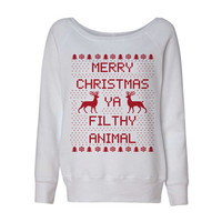 White Wideneck Merry Christmas Ya Filthy Animal Oversized Ugly Christmas Sweatshirt Sweater Jumper Pullover