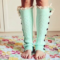 Cozy and Lacy Mint Button Up Leg Warmers