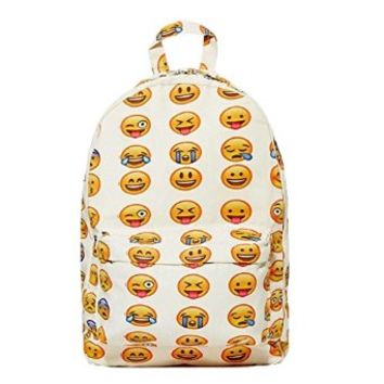 MapleClan Emoji Backpack Smile Face Casual Bag For Boys and Girls (Small)