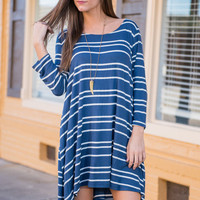 Just My Stripes Dress, Blue