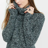 Marl Cowl Neck Cable Knit Sweater from EXPRESS