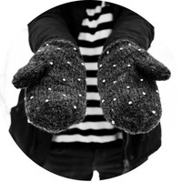 handmade grey color mittens with plastic diamonds from 100% wool kitsch gloves