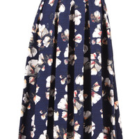 Navy Floral Print Pleated Midi Skirt