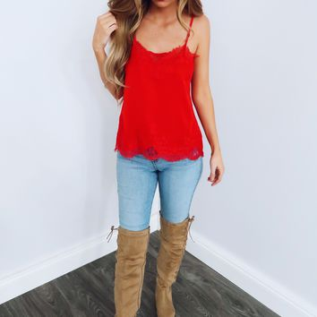 Layered In Lace Tank: Red