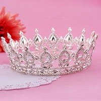 Luxury Silver Color Hair Jewelry Round Rhinestones Wedding Tiaras And Crowns Bridal Quinceanera Pageant Queen Tiara For Bride