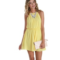 Yellow Soft Pleats Dress