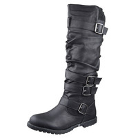 Womens Knee High Boots Strappy Ruched Leather Adjustable Buckles Black