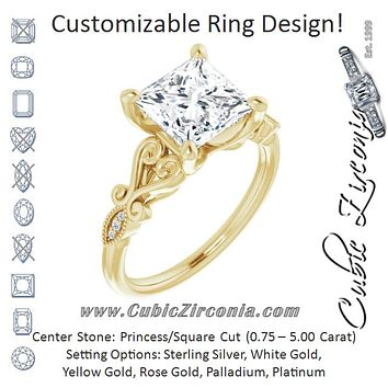Cubic Zirconia Engagement Ring- The Annika (Customizable 7-stone Design with Princess/Square Cut Center Plus Sculptural Band and Filigree)