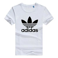 ADIDAS new popular logo brand classic short sleeved summer T-shirt men's sport coat pure cotton round neck slimming loose brand plus-size casual shirt for young students