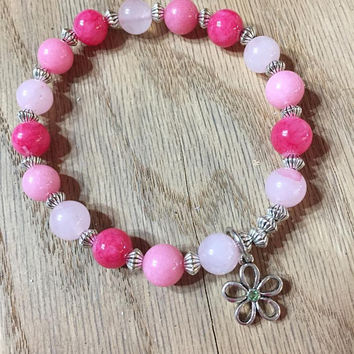 HOLIDAY SALE Woman's Rose Quartz bracelet, Rhodonite Bracelet, Gemstone Bracelet, Charm Bracelet, Flower Bracelet, Pick your Charm Bracelet