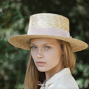 lack of color - pink velour straw hat