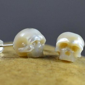 Hand Carved Large White Pearl Skull Stud Earrings