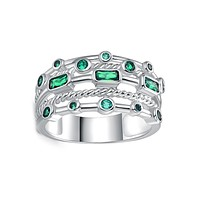 18K White Gold Plated 5 Layer Green Emerald Ring