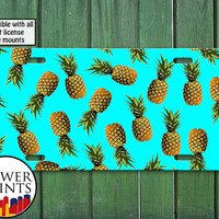 Pineapple Pattern Blue Cute Summer Fruit Pop Art For Front License Plate Car Tag One Size Fits All Vehicle Custom