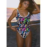 Fendi 2019 new double F letter printed female models halter one-piece swimsuit #2