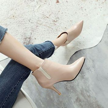 Pointed Toe Women's High Heeled Chelsea Boots