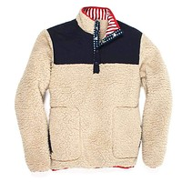 Old Glory Sherpa Pullover in Cream by Southern Proper