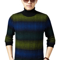 Striped Knitted Turtle Neck Pullover Men Sweater