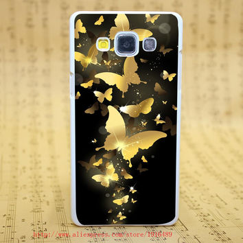 113H Flying Golden Butterflies Lockscreen Style White Hard Case Cover for Galaxy A3 A5 A7 A8 Note 2 3 4 5