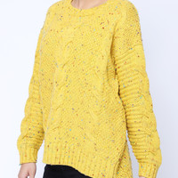 'The Jordan' Yellow Long Sleeve Embroidered  Knitted Sweater
