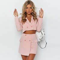 New Arrival Solid Color Double-breasted Cropped Blazer Mini Skirt Set