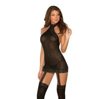 Sheer Dress Wlace Trim Attached Garters amp Thigh High Stockings
