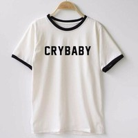 Women T shirt Cry Baby Letters Print Cotton Casual Funny Shirt For Lady Top Tee Hipster T-Shirts