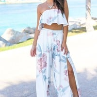 Ivory and Mauve Floral Two Piece Set