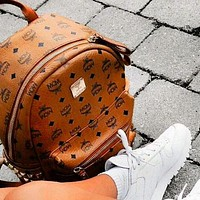 MCM backpack women versatile rivet backpack bag