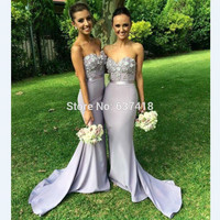 Robe Demoiselle D'honneur Light Purple Lavender Long Mermaid Bridesmaid Dresses with Flower Appliques and Sequins Prom Dress