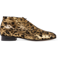 Dieppa Restrepo Lupe metallic leopard-print suede brogues – 55% at THE OUTNET.COM