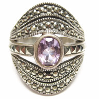 Bold Amethyst and Marcasite Sterling Ring Sz 7 925