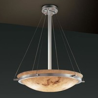 Justice Design Group FAL-9692-35-NCKL LumenAria 24-Inch Round Bowl Pendant with Ring