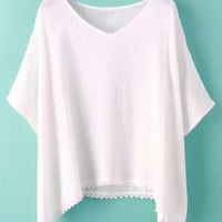 White Bat Sleeve Lace Panel T-Shirt