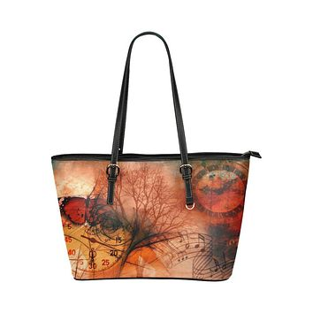 Tote Bags, Red Autumn Motif Tree of Life Style Leather Bag