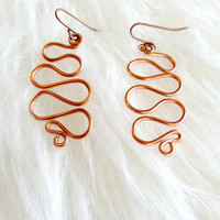 Copper Squiggle Spiral Earrings - Handmade, Aluminum, Metal Loops, Copper Tone, Abstract, Asymmetrical, Minimalist, Wire Wrapped, Dangle